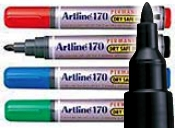 Artline EK-170 Dry Safe Permanent Marker - 2.0mm Bullet Tip in black, blue, red, green